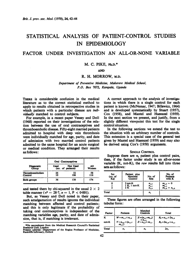 Statistical analysis of patient-control studies in