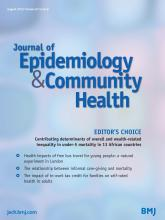 Journal of Epidemiology and Community Health: 67 (8)