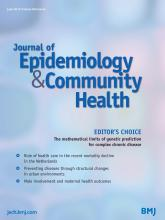 Journal of Epidemiology and Community Health: 69 (6)