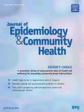 Journal of Epidemiology and Community Health: 69 (8)