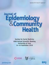 Journal of Epidemiology and Community Health: 70 (Suppl 1)
