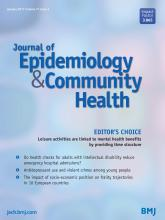 Journal of Epidemiology and Community Health: 71 (1)