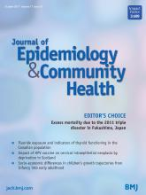 Journal of Epidemiology and Community Health: 71 (10)