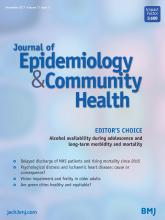 Journal of Epidemiology and Community Health: 71 (11)