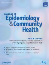 Journal of Epidemiology and Community Health: 72 (6)