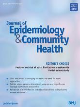 Journal of Epidemiology and Community Health: 74 (1)